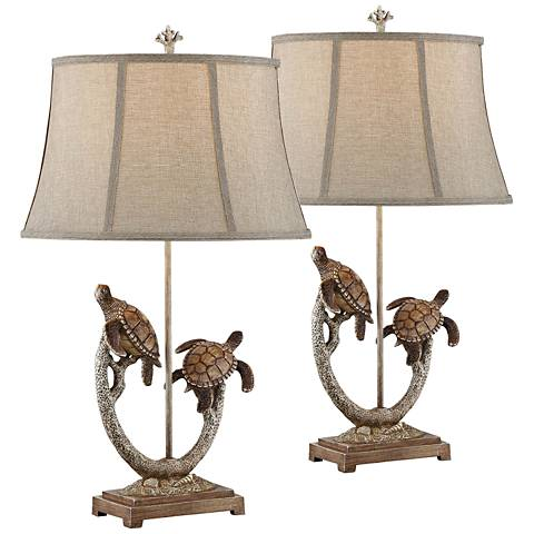 Twin Turtle Branch Table Lamp Set of 2