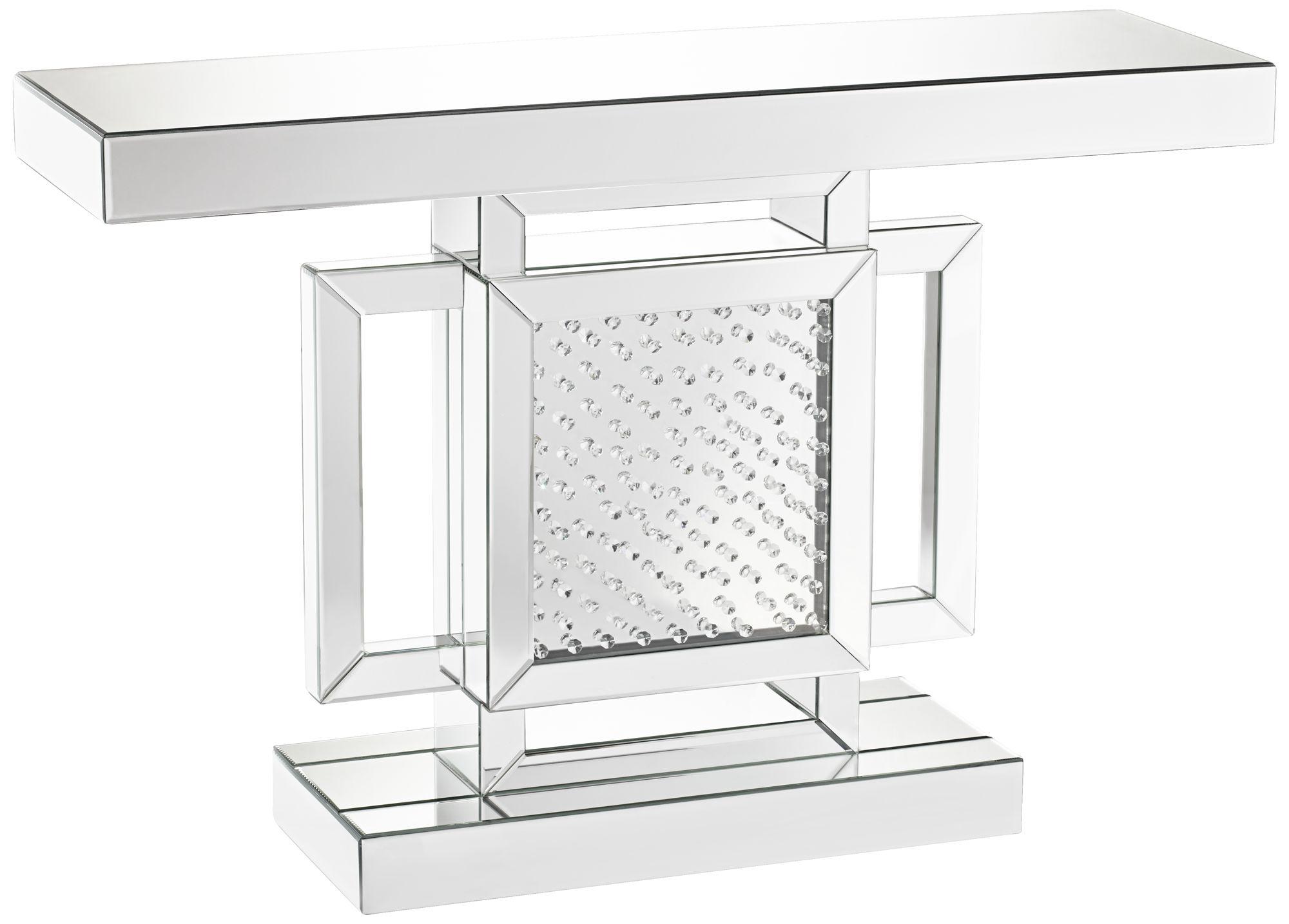 Fostoria Silver Mirror Square Crystal Console Table
