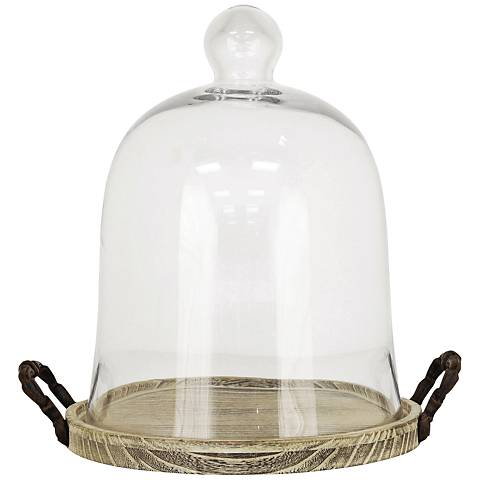 Campagne Ash Wood and Clear Glass Small Dome Tray