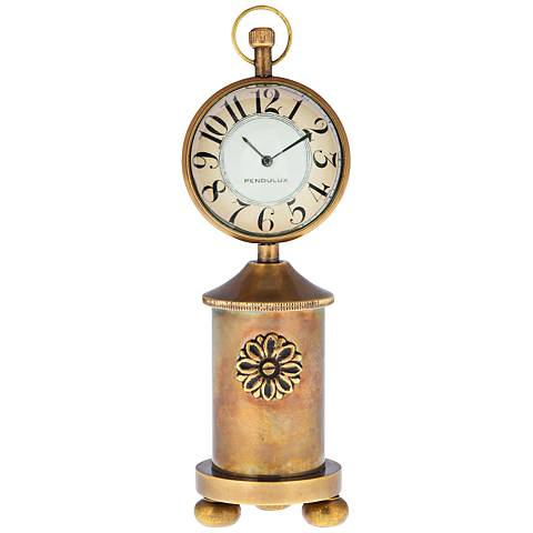 "Charlotte 6 1/2"" High Antique Brass Stovepipe Table Clock"