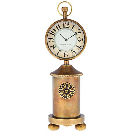 """Charlotte 6 1/2"""" High Antique Brass Stovepipe Table Clock"""