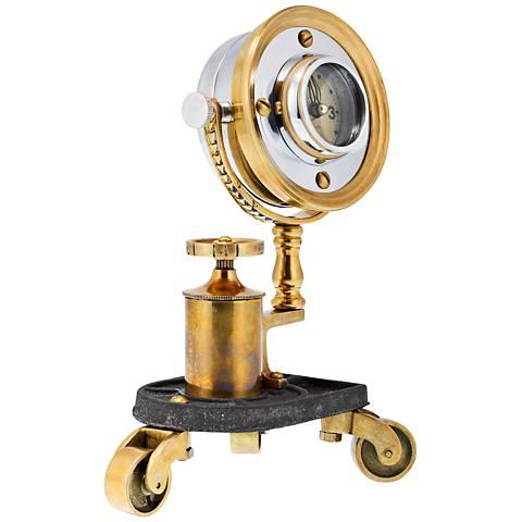 "Gizmo 10"" High Antique Brass Pivot Retro Table Clock"