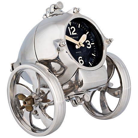 """Rover 8"""" Wide Polished Aluminum Space Age Table Clock"""