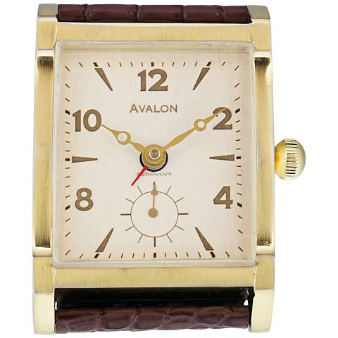 "Avalon 4""H Antique Brass Tank-Watch Retro Alarm Clock"
