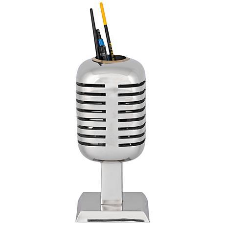 Vintage Microphone Polished Aluminum Pencil Holder