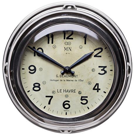 "Deckhand 8 1/2""W Nickel French Navy Replica Wall Clock"