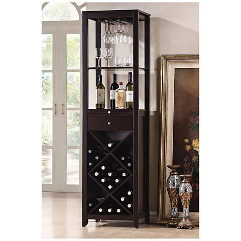 Goudie Wenge Wood Tall 1-Drawer Wine Cabinet