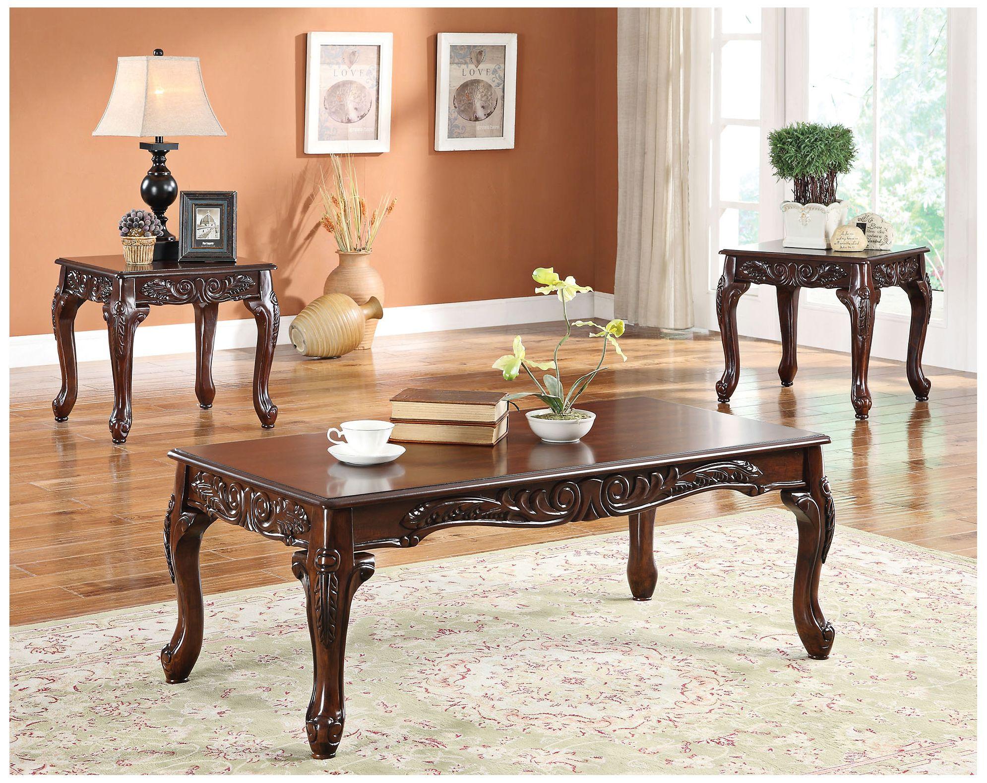 daniels light brown 3piece coffee tableend tables set