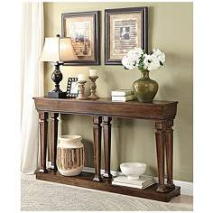 Console Table With Lamps: Toscani Oak Woodgrain Rectangular Console Table,Lighting