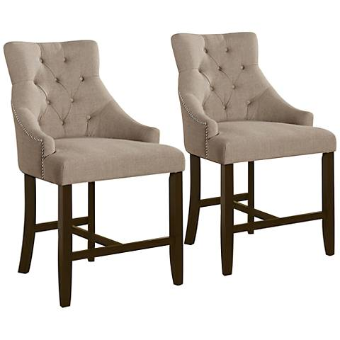 "Calvin Cream Fabric Tufted 25"" Counter Armchair Set of 2"