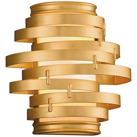 "Corbett Vertigo 10"" High Gold Leaf LED Wall Sconce"