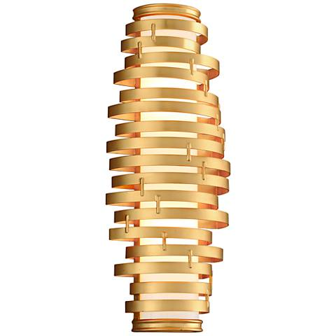 "Corbett Vertigo 24"" High Gold Leaf LED Wall Sconce"
