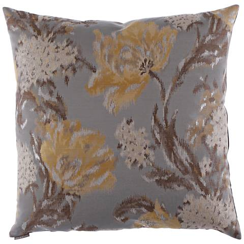 "Maya Yellow and Gray 24"" Square Decorative Throw Pillow"