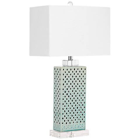 Sareta Blue Perforated Ceramic Table Lamp