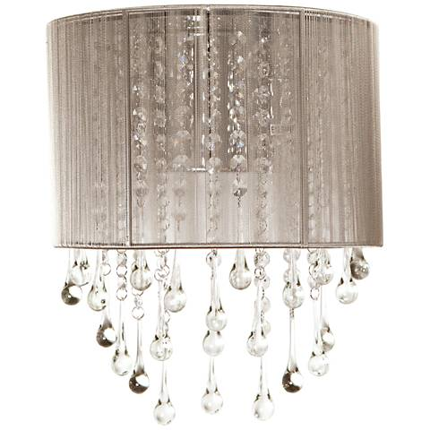 "Avenue Beverly Dr. 14"" High Taupe Silk String Wall Sconce"