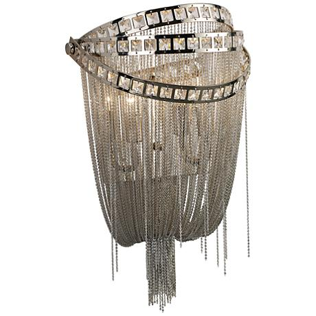 "Avenue Wilshire Blvd. 16"" High Polished Nickel Wall Sconce"