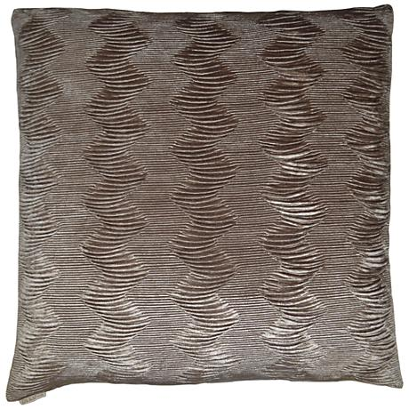"Waterfalls Taupe 24"" Square Decorative Throw Pillow"