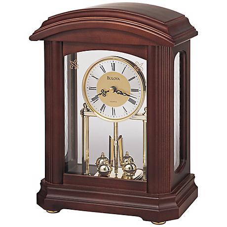 "Nordale Walnut Finish 11"" High Bulova Mantel Clock"