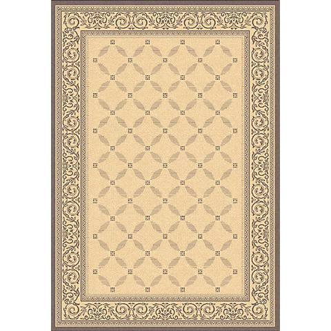 Portico Collection Natural and Brown Area Indoor-Outdoor Rug