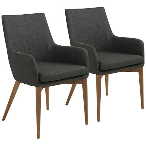 Calais Walnut and Charcoal Fabric Armchair Set of 2