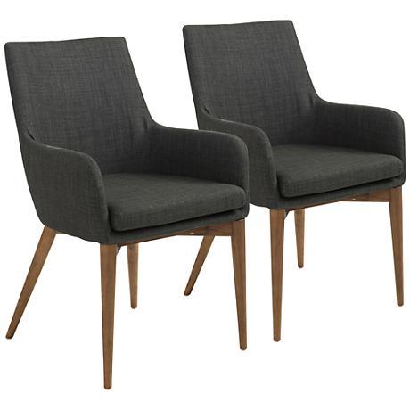 Calais Walnut and Charcoal Fabric Armchair Set of 2