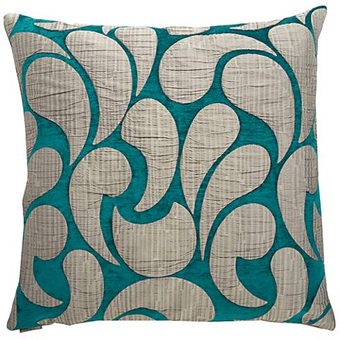 "Drizzle Peacock 24"" Square Decorative Throw Pillow"