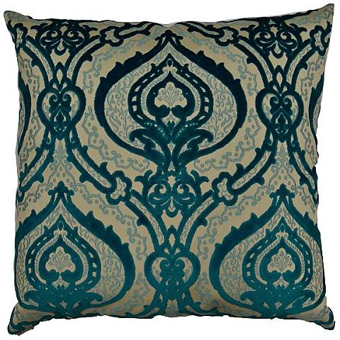 "Couture Turquoise 24"" Square Decorative Throw Pillow"