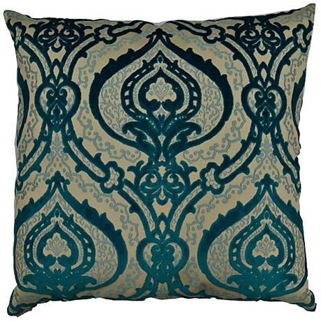 """Couture Turquoise 24"""" Square Decorative Throw Pillow"""