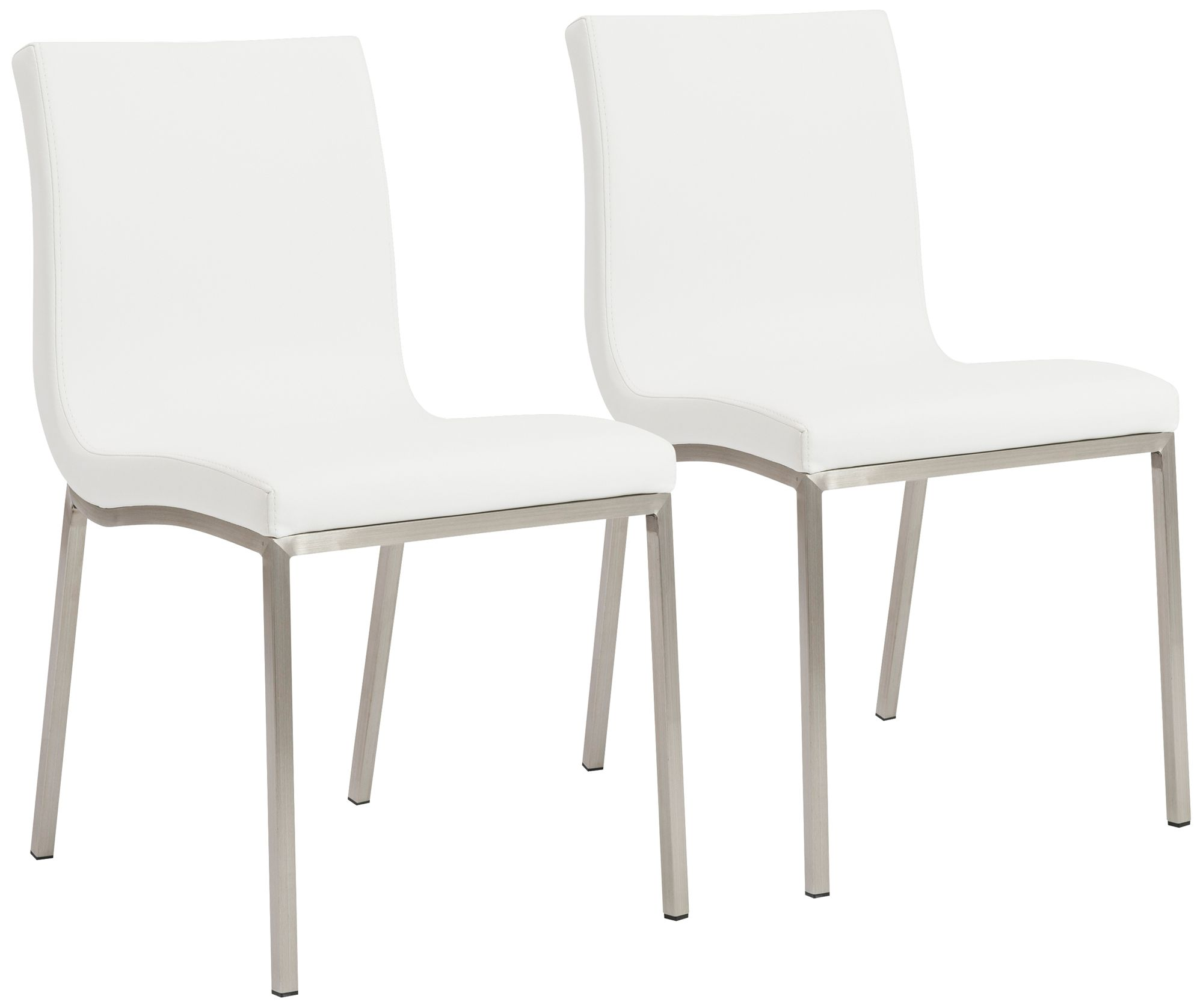scott steel and white leatherette dining chair set of 2