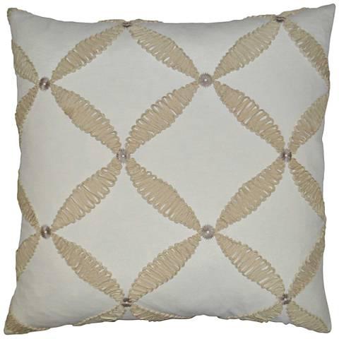 "Windward Ivory 24"" Square Decorative Throw Pillow"