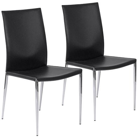 Max Black Regenerated Leather Chrome Dining Chair Set of 2