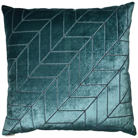 "Villa Teal 24"" Square Decorative Throw Pillow"
