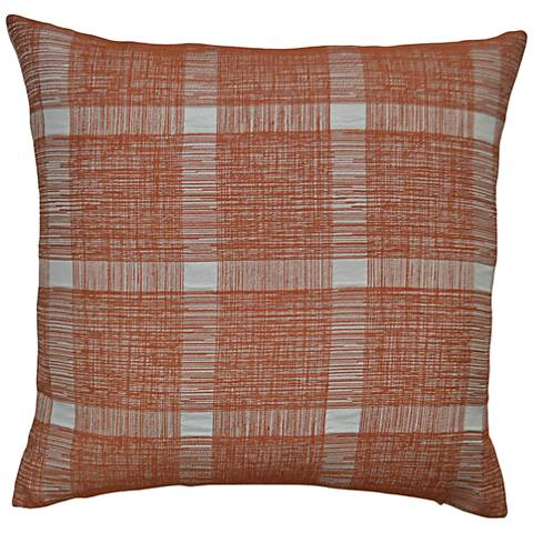 "Checkmate Orange 24"" Square Decorative Throw Pillow"