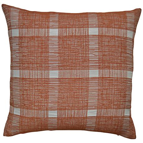"Checkmate Orange 24"" Square Decorative Throw Pillow"