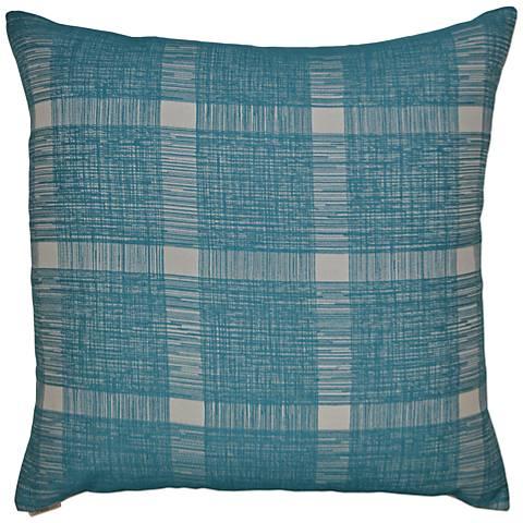 Checkmate Turquoise Square Decorative Throw Pillow