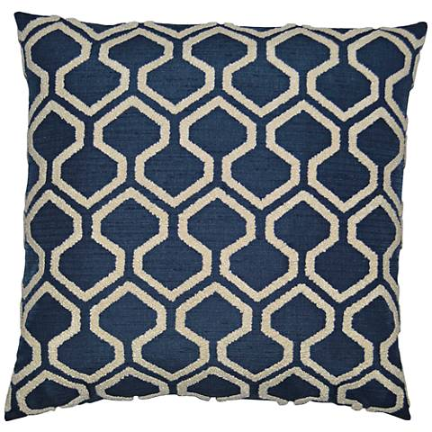 Raw Edges Indigo Square Decorative Throw Pillow