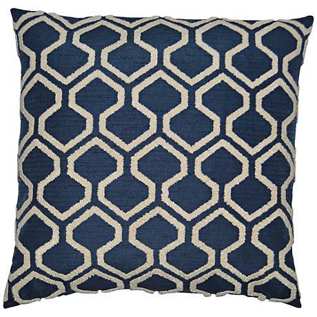 "Raw Edges Indigo 24"" Square Decorative Throw Pillow"