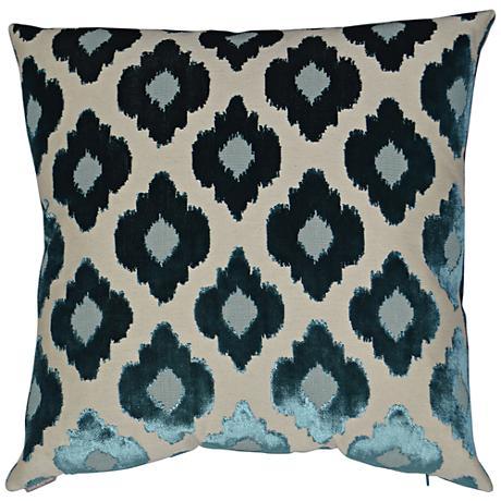 24 Square Throw Pillows : Mia Turquoise 24