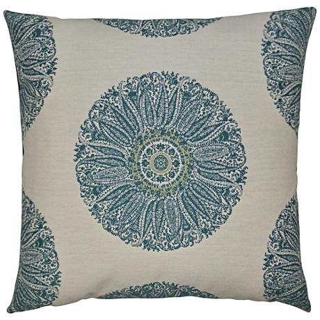 "Crillon Aqua 24"" Square Decorative Throw Pillow"