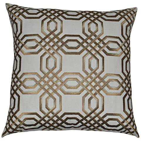 "Merging Lanes Gold and Taupe 24"" Square Throw Pillow"