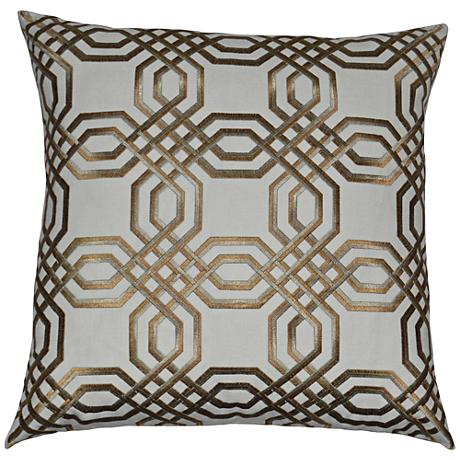 """Merging Lanes Gold and Taupe 24"""" Square Throw Pillow"""