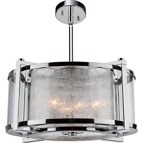 "Crackled Ice 19 1/2""W Chrome Drum 5-Light Chandelier"