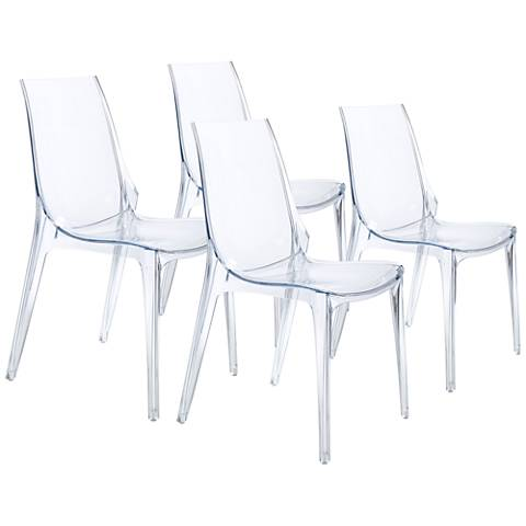 Vanity Transparent Stacking Side Chair Set of 4