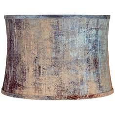 Drum Lamp Shades | Lamps Plus:Velvet Blue Embossed Drum Lamp Shade 15x16x11 (Spider),Lighting