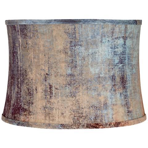 Velvet Blue Embossed Drum Lamp Shade 15x16x11 (Spider)