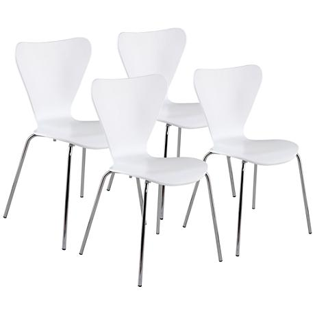 Tendy White Wood and Chrome Stacking Side Chair Set of 4