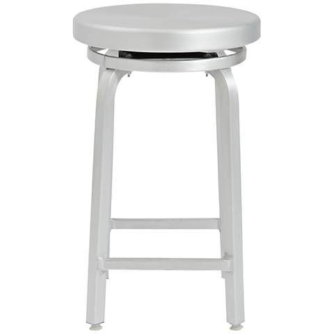 "Miller 24"" Matte Aluminum Swivel Counter Stool"