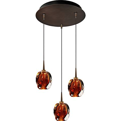 "Aurora 4 1/2"" Wide Amber Glass LED Mini Pendant"