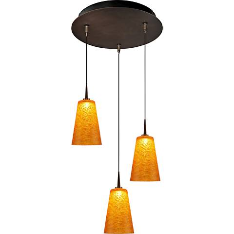 "Bling 4 3/4"" Wide Amber Glass LED Mini Pendant"
