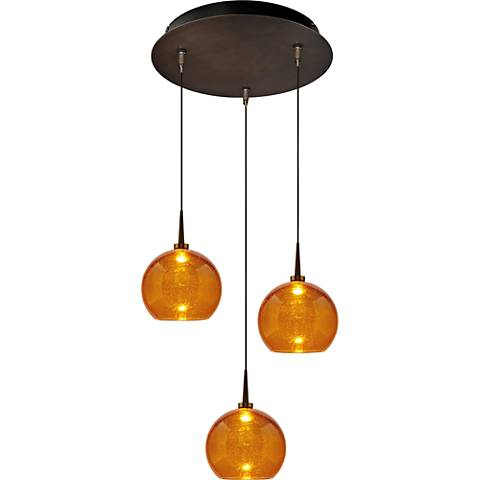 "Bobo 6"" Wide Amber Glass LED Mini Pendant"